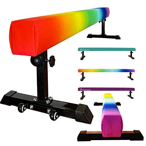PreGymnastic Train On a Rainbow-Club Level 8FT Floor&Height Adjustable Balance Beam Portable Gymnastic Beam with Bonus Anti-dust Cover (Rainbow)
