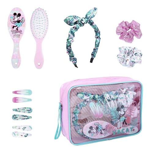 Beauty line minnie Set De Belleza Bolsito Accesorios Minnie, Rosa Y Azul