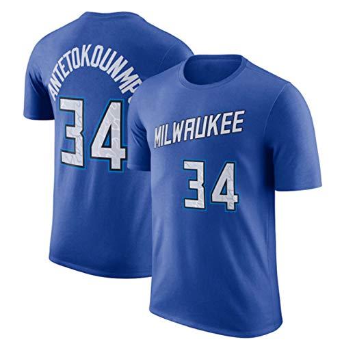 2021 Camiseta De Baloncesto Milwaukee Bucks #34 Antetokounmpo Top Ropa De Entrenamiento De Formación De Secado Rápido Breve Camiseta De Manga, Puro Algodón, Lavable En La Lavadora,Azul,XL