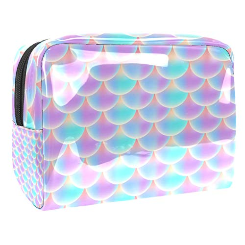 Makeup Bag Mermaid Scale Travel Cosmetic Bag Waterproof Toiletry Storage Portable Travel Makeup Bag for Women 18.5x7.5x13cm