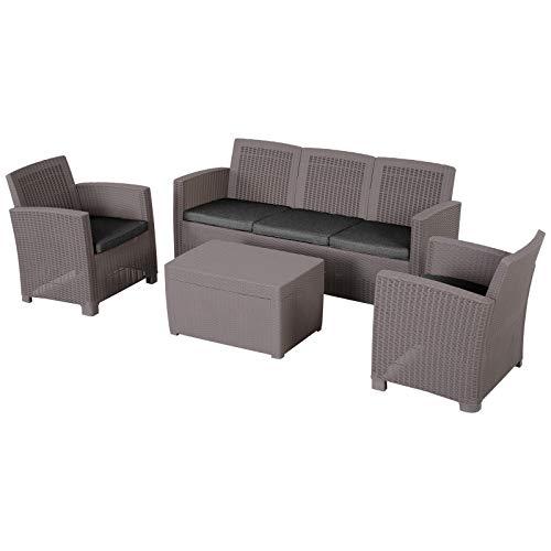 Outsunny Vierteiliges Gartenmöbel Set, Sitzgruppe, Sitzgarnitur, Sofa mit Sitzkissen, Tisch mit Stauraum, Polyester, Grau