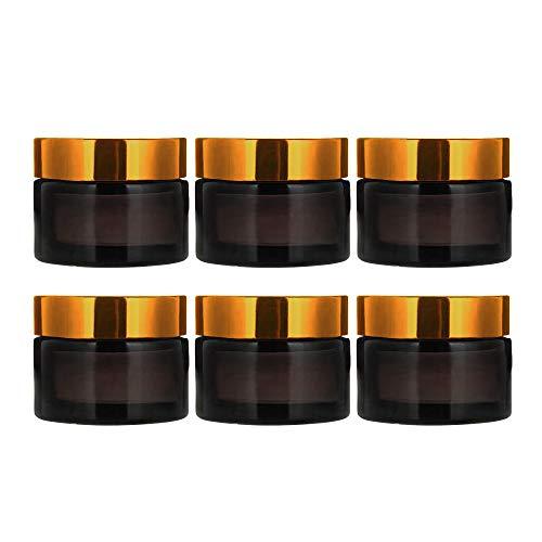 INHEMI 6 x Glastiegel Braunglas 30ml / Salbentiegel/Cremetiegel inkl. Schraubverschluss Bakelit Gold
