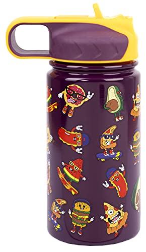 Fringoo - Botella de Agua con Pajita Cool Kids para Niños - Botellas de Agua Pequeñas Libres de BPA - Botella de Agua Aislada - Botella de Agua de Acero Inoxidable - Botellas de Agua para Niños-350 ml