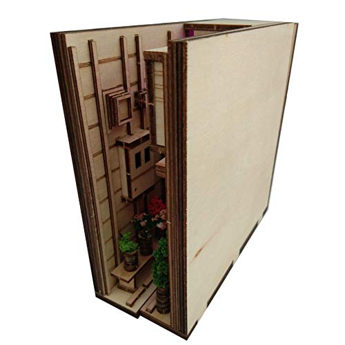Vaorwne Wooden Book Nook Inserts Kunst BuchstüTzen DIY BüCherregal Dekor Standdekoration Japanische Art Home Decoration