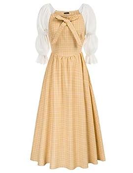 Women s Prairie Peasant Colonial Costume Historical Victorian Dresses Yellow XXL