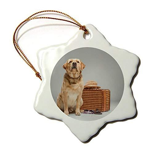 Hermoso labrador con maleta, adorno de moda, ideal para colgar en el árbol de Navidad, centro comercial, comunidad, escuela, decoración de restaurante