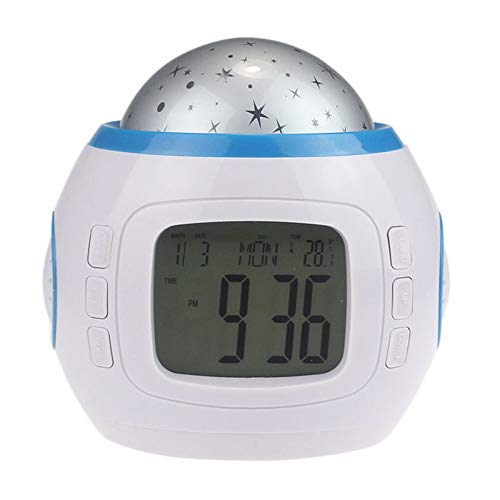 paway Digital Clock Battery Powered Led Music Clock 7 Colors Changing Night Light Star Sky Digital Led Projection Projector Alarm Clock for Adults Kids Teens Best Gift Baby Kid Children (White)