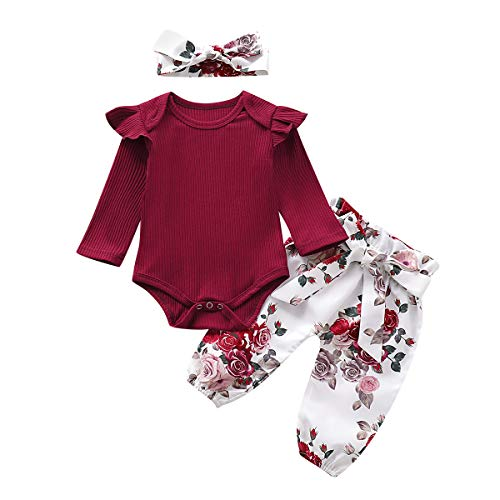 Livingsenburg Baby Mädchen Langarm Red Romper Floral Hose Stirnband 3 Stück Kleinkind Kurzarm Tops Hosen Outfits Set für 0-24 Monate (0-3Monate, F-Rot)