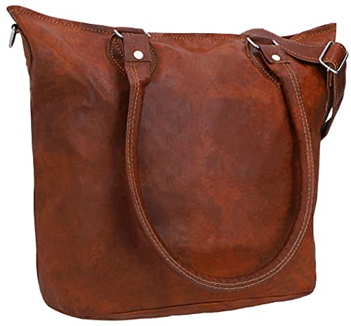 Gusti Handtasche Damen Leder - Therese Ledertasche mit Reißverschluss Umhängetasche Schultertasche Shopper groß Braun Echtleder
