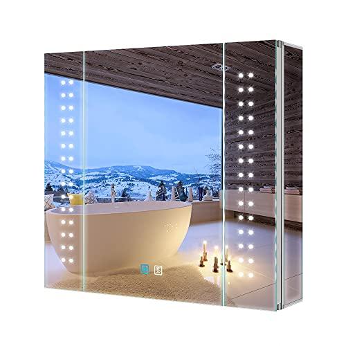 Tokvon® Galaxy 65x60cm Spiegelschrank LED Badezimmer Spiegelschrank mit Beleuchtung Wandschrank Licht Aluminium Beschlagfrei Rasier Steckdose Touch