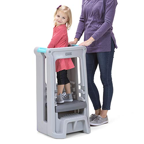 Simplay3 Toddler Tower Childrens Step Stool with Three Adjustable Heights, Gray
