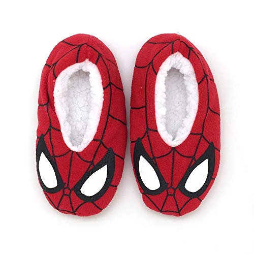 Equalizer Accessories Little Boys Spiderman Slippers Babba Slip On Fuzzy Comfy Kids Glowing Slipper with Grippers (3T-4T) ,Red