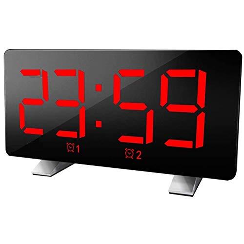 WQTT Digitale wekker Gebogen dimbaar LED-scherm Digitale klok voor Kid Senior Snooze 12 / 24H-wekker voor kantoor in de slaapkamer (Color : Red)