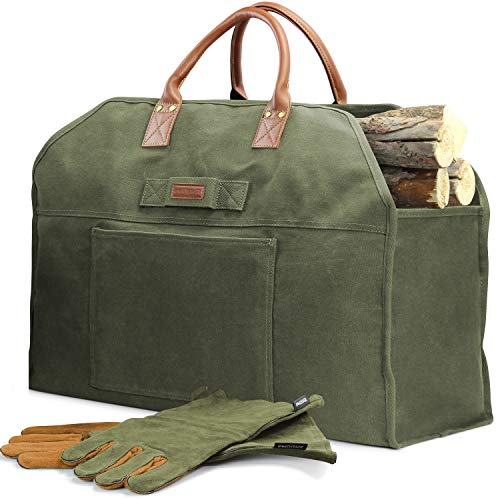 INNO STAGE Firewood Log Carrier Bag Waxed Canvas Tote Holder with Fireplace Pure Leather Gloves Set Green Bag