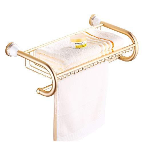 Estante de baño y toallero Estantes de baño 2 niveles de aluminio macizo Toalleros de oro Estante de baño Toallero Colgador Montado en la pared Toallero de decoración para el hogar Soporte de almacen