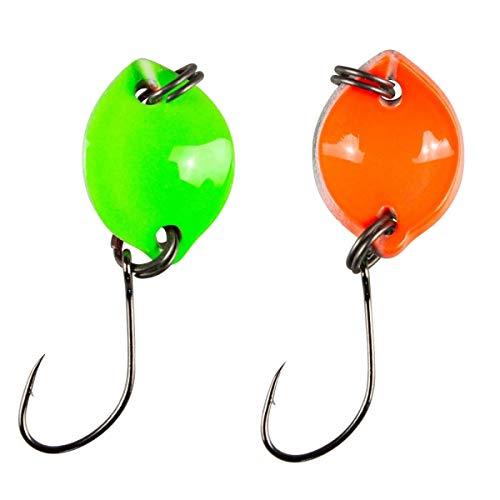 Fishing Tackle Max FTM Trout Spoon Forellenblinker Bottom Spoon 703 UV Grün UV Orange 1,6g 5200703 Spoons Blinker Ultra Light Forellenangeln