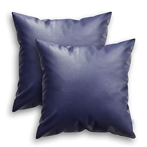 CaliTime Kissenbezüge Kissenhülle Throw Pillow Cases Packung mit 2 modernen massiv gefärbten weichen Kunstleder-Dekorationskissenbezügen für das Couch-Sofa Schlafzimmer 50cm x 50cm Marineblau