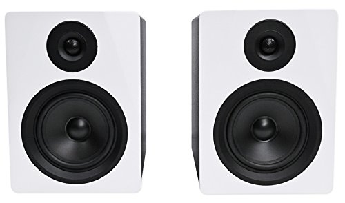 """Rockville APM5W 5.25"""" 2-Way 250W Active/Powered USB Studio Monitor Speakers Pair, White, 5 inch"""