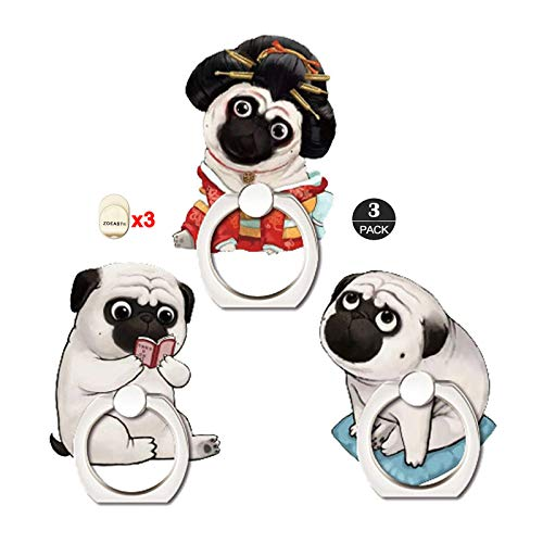 ZOEAST(TM) 3 Pack Phone Ring Grip Cute Dog Puppy Pet Universal 360° Adjustable Holder Car Hook Stand Stent Mount Kickstand Compatible with iPhone 11 XR XS MAX X GPS Samsung GPS iPad Tablet (3pcs Pug)
