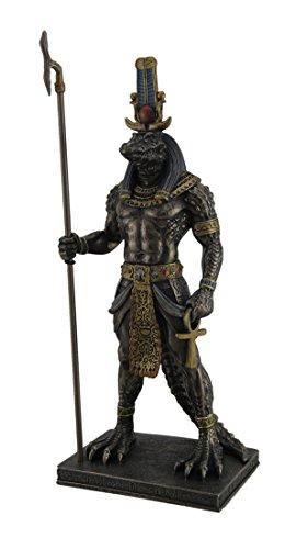 Veronese Design Sobek Ancient Egyptian Crocodile God of The Nile Bronzed Finish Statue