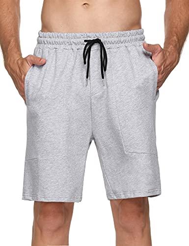 Hawiton Pantalones Cortos de Deporte para Hombre Pantalones Deportivos Verano de Algodón Pantalón Chándal Hombre Corto Fitness Jogging, Gris, XL