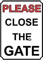 ゲートを閉じてください壁錫サイン金属ポスターレトロプラーク警告サインヴィンテージ鉄絵画の装飾オフィスの寝室のリビングルームクラブのための面白い吊り工芸品