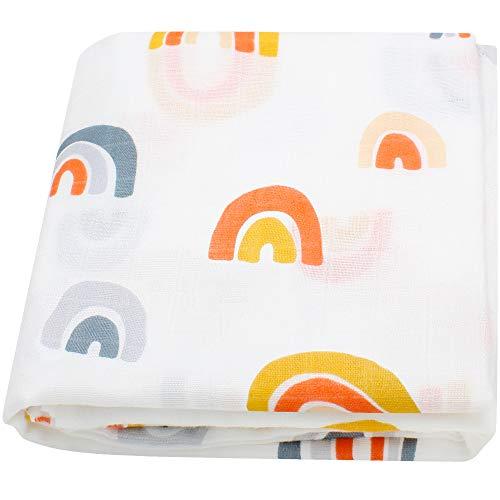 LifeTree weiche Baby Pucktücher für Junge und Mädchen, 120x120 cm Regenbogen Design Baby Musselin Swaddle Decke, Bambus Baumwolle Aufstoßen Tuch & Kinderwagen Decke