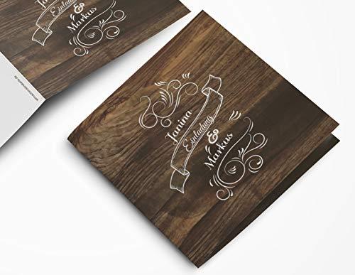 Gaudi Hochzeitskarte rustikal (20 Stück) – Einladungskarte mit Holz-Optik – Vintage Holz Einladung für deine Hochzeit quadratisch – Hochzeitseinladungskarte mit Druck und deinem Bild