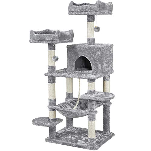 YAHEETECH 59 inches Multi-Level Cat Tree Tower Condo with Scratching Posts, Cat Stand House Furniture Activity Tower for Kitten, Cat, Pet