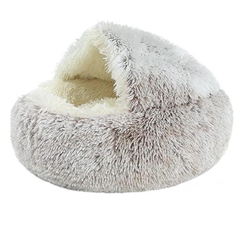 SAIO Invierno 2 en 1 Cama de Gato Redondo cálido Mascota Cama casa Largo Peluche Cama de Perro cálido Saco de Dormir sofá cojín Nido para Perros pequeños Gatitos Gatitos