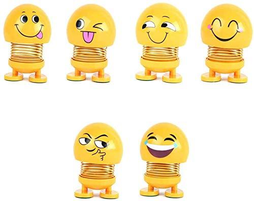 Kesv 6 Stücke Nette Emoji Wackelkopf Puppen, lustige Smiley Springs Tanzen Spielzeug für Auto Armaturenbrett Ornamente,Party Favors, Geschenke, Hauptdekorationen