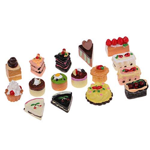 KESOTO 16 Pezzi Gusti Assortiti di Torte di Marmellata di Cioccolato Torta di Frutta Casa delle Bambole Giocattoli in Miniatura 1:12