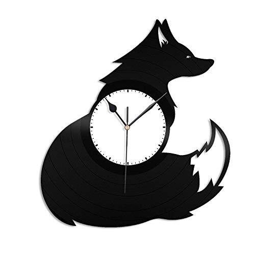 Fox 3D Reloj de pared de vinilo, disco de vinilo, decoración para el hogar, decoración de pared, 30,48 cm, regalo hecho a mano