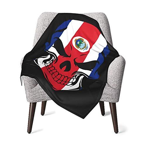 XCNGG Mantas para bebés edredones para bebésCosta Rica Flag Skull Baby Blanket All Season, Super Soft Warm Cozy Blanket for Infant, Newborn or Kid, Receiving Blanket for Crib, Stroller, Travel, Decora