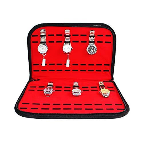PU y tela flocada Fácil de usar Caja de colección de 20 ranuras Contenedor de reloj Caja de almacenamiento de reloj Manténgase bien organizado Proteja su reloj para escritorio Organizador