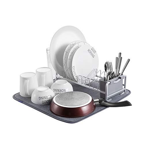 Kingrack Escurreplatos compacto de aluminio con alfombrilla de microfibra para secado, soporte para vasos y soporte para utensilios de cocina, Antióxido wkuk112050