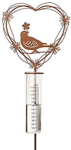 Novaliv Wassermengenmesser I Niederschlagsmesser Vogel Herz Wetterstation I Wetterfest Garten Dekoration I Regenmesser