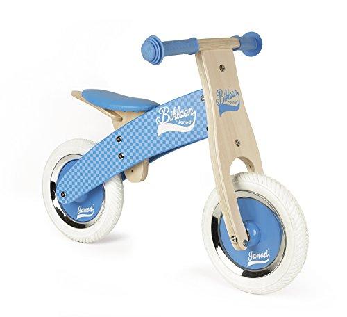 Janod J03258 Little Bikloon Laufrad aus Holz, Hellblau