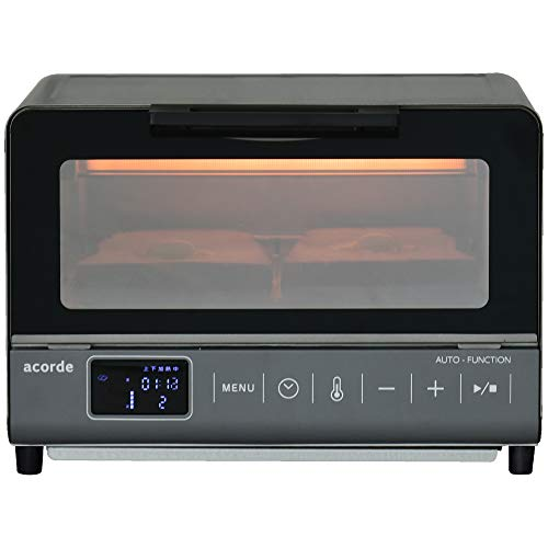 [山善] オーブントースター マイコン式 2枚焼き 自動調理メニュー搭載 acorde (温度調節機能 (80℃~230℃) / タイマー機能 (1~59分) / オートオフ機能付き) チャコールグレー GTM-M100(CG) [メーカー保証1年]