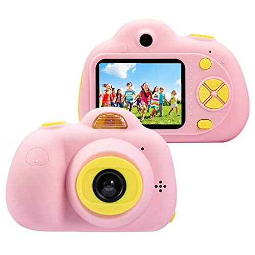 "Cámara para niños ToyZoom Cámara de Fotos Digital 2 Objetivos Selfie 8MP Cámara Digital 1080P HD Videocámaras para Niños Niñas con Zoom Digital 4X, Flash Lights , 2"" LCD, Batería Recargable (Rosa)"
