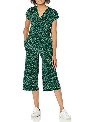 Amazon Essentials Women's Short-Sleeve Surplice Cropped Wide-Leg Jumpsuit, Mini Cloud Print, Medium