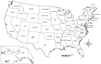 Map - Us Map Black and White Simple Brilliant Design United States Incredible Vivid Imagery Laminated Poster Print-17 Inch by 22 Inch Laminated Poster With Bright Colors