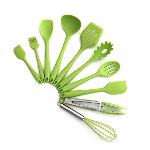 TFENG 10 Stücke Kochgeschirr Sets, Edelstahl und Silikon Schöpflöffel Kochen Besteck,Grün