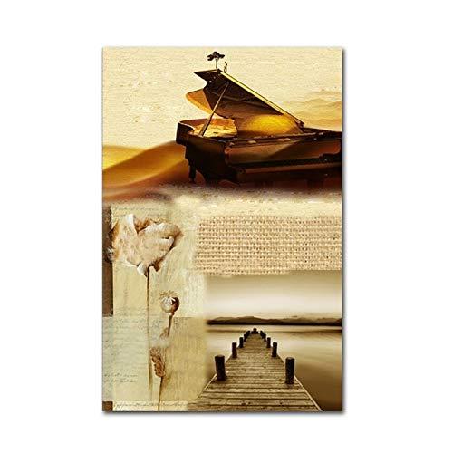 WSWWYVintage Dekoration Poster Klavier Noten HD Druck Musik Zimmer leinwand malerei wandkunst Schlafzimmer Bild für Zimmer A 50x70 cm Kein Rahmen