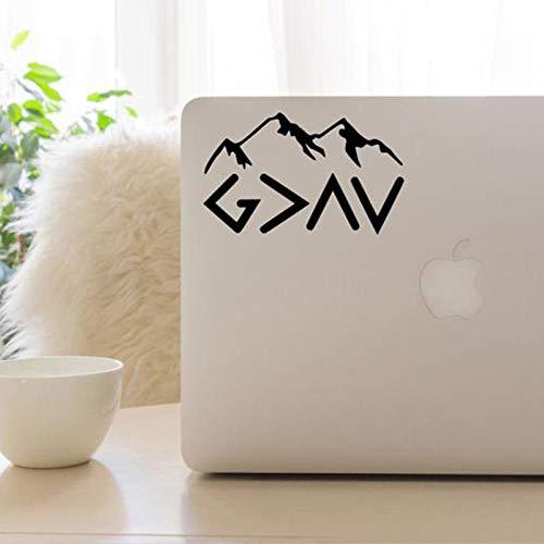 Ksnrang Gott ist größer als die Höhen und Tiefen Aufkleber Berg Laptop Computer Dekor Aufkleber Vinyl Abnehmbare Computer Haut Dekor 8X13cm
