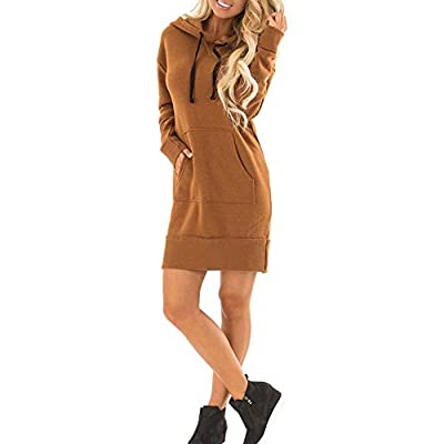 Muranba Womens Dresses Pocket Loose Dress Ladies Hooded Casual Long Tops Dress with Pocket