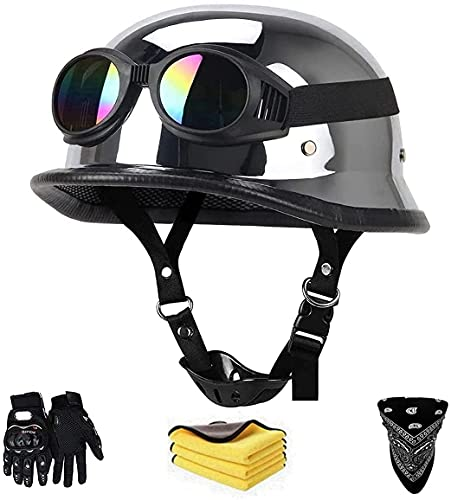 TYYCKJ Casco De Moto Retro,Medio Casco De Cara Abierta Moto Biker Racing Moto Helmet,Casco De Equitación Casco Masculino De Equitación Retro Accesorio De Moto Casco De Seguridad