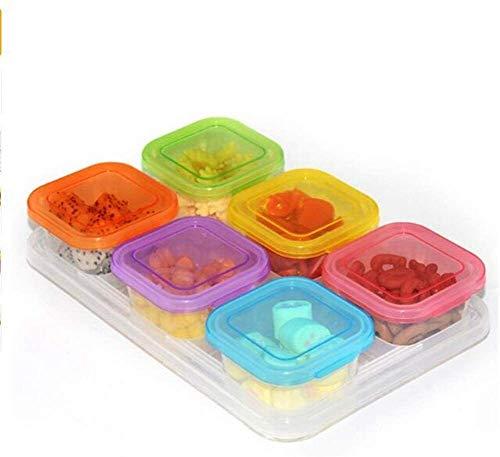 LSLS Organizador de plástico transparente, estuche de almacenamiento sellado, crisper apilable para niños, 6pcs / set cocina comida cubierta fruta bandeja de fruta, refrigerador recipiente de almacena