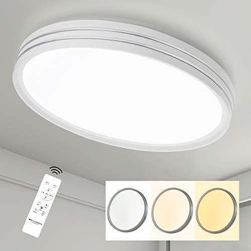 SHILOOK 24W Led Deckenlampe Dimmbar mit Fernbedienung, 2050LM 3000-6500K Deckenleuchte Sternenhimmel Rund für Schlafzimmer/Kinderzimmer/Küch/Wohnzimmer, Modern Weiß 40cm
