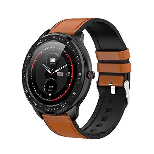 DCU TECNOLOGIC | Smartwatch | Reloj Inteligente | Full Touch Pantalla táctil | Control Remoto | Notificación de APPS y Llamadas | con 2 Correas Piel marrón y Silicona Negra